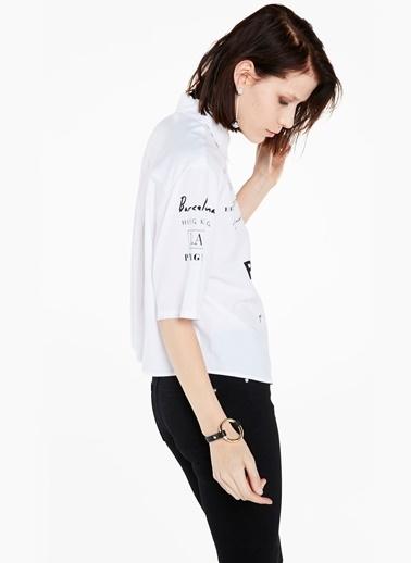 Kısa Kollu Yazılı Gömlek-Twist